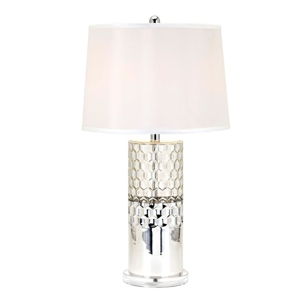 Madison Silver Mercury and White Shape Table Lamp