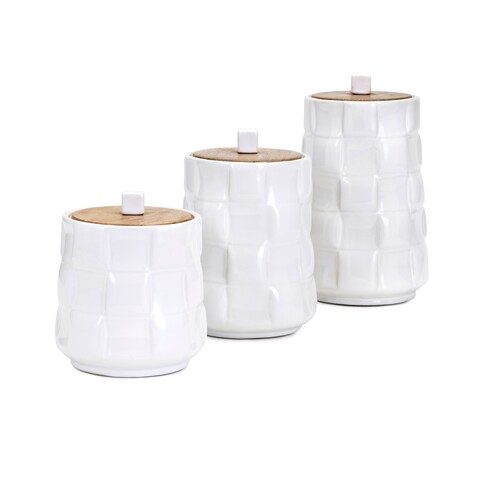 Gamil White Glaze Ceramic Canisters (Set of 3)