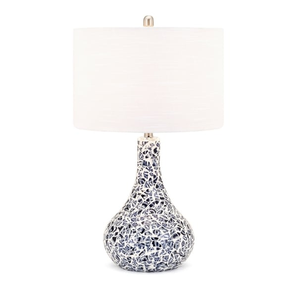 Lily White and Blue Mosaic Table Lamp