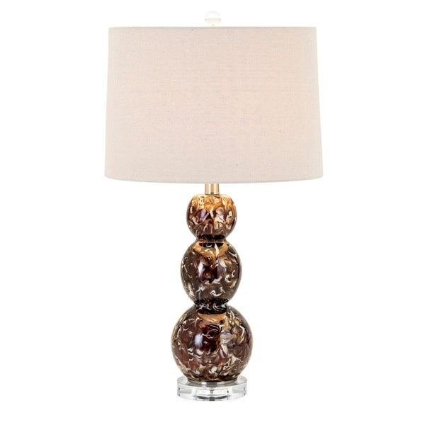 Burnell Rich Brown and Beige Shape Table Lamp