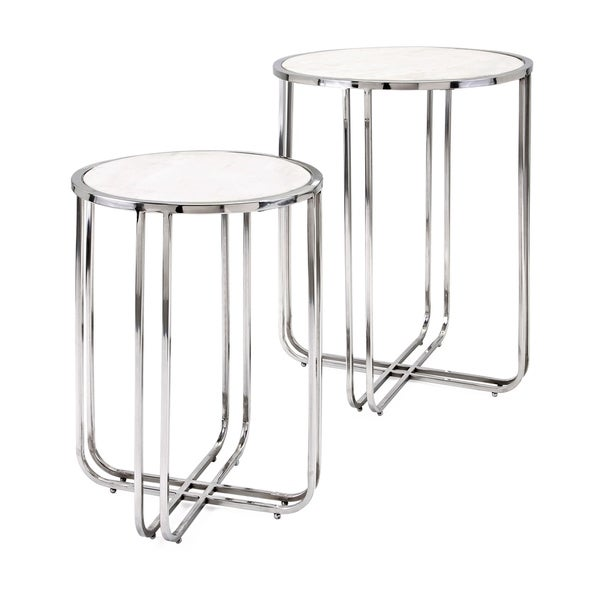 Hachi Silver Chrome Marble Side Tables (Set of 2)