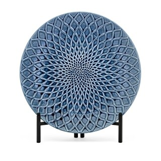 Nasrin Blue Gloss Decorative Charger with Stand