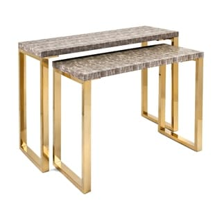 Virdigris Brushed Gold Console Tables (Set Of 2)
