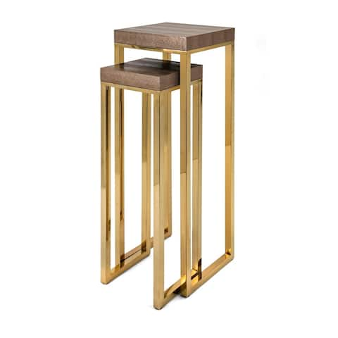 Markov Gleaming Gold Stainless Steel Stands (Set of 2)