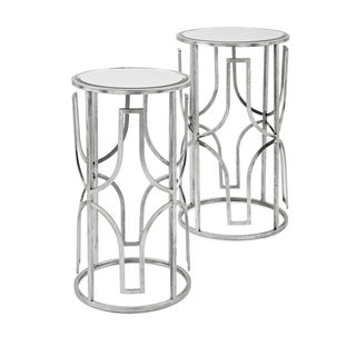 Antiqued Silver Florence Mirror Accent Tables (Set of 2)