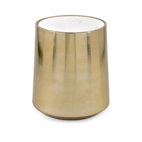 Briar Gold Metal and Marble Drum Table