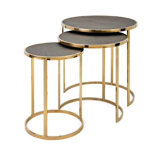 Marek Gleaming Gold Stainless Steel Tables (Set of 3)