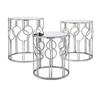 Margaret Antiqued Silver Mirror Accent Tables (Set of 3)