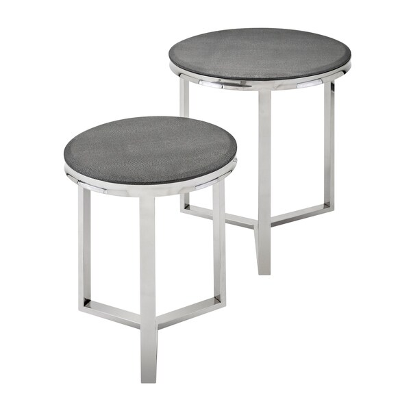 Meeda Gleaming Silver and Grey Stainless Steel Tables (Set of 2)