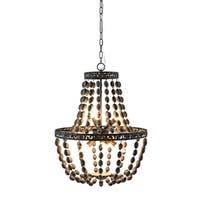 Darcy Black Wood Bead Chandelier