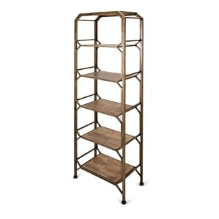 Tobias Antique Brass Bookshelf