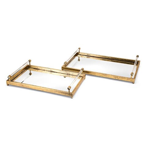 Carter Antiqued Gold Decorative Trays (Set of 2)