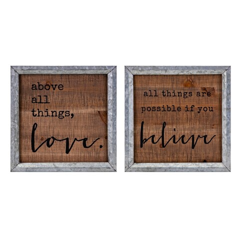 Believe Grey and Natural in Love Wall Decors (Ast 2)