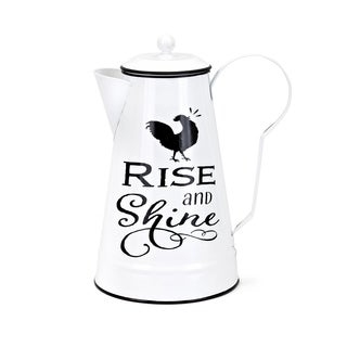 Rise and Shine White Enamel and Black Iron Pitcher
