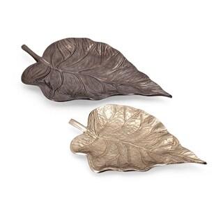 Mabon Bronze and Gold Aluminium Decorative Leaf Trays (Set of 2)
