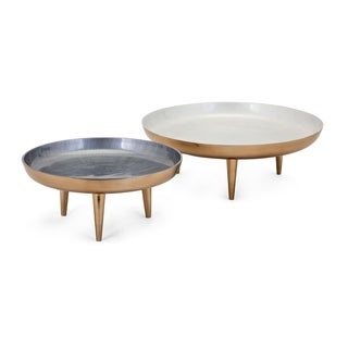 Pryce Metallic Gold Aluminium Decorative Trays (Set of 2)