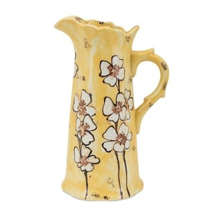 Wildflower Rustic Golden Glaze Ceramic Pitcher