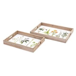 Gardenia Brown Decorative Trays (Set of 2)
