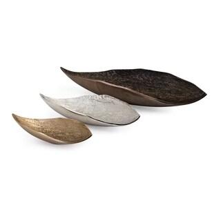 Nalu Multi-color Aluminium Organic Decorative Trays (Set of 3)