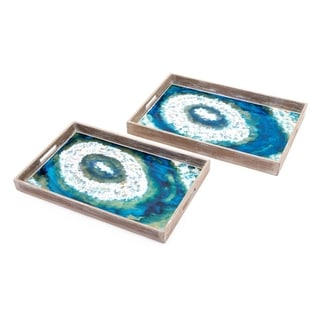 Painted Brown Decorative Trays (Set of 2)