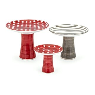 Trisha Red and Grey Berry Patch Hand-painted Cake Stand (Set of 3)