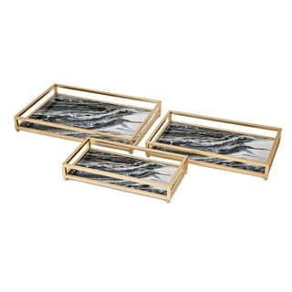 Contrast Gold and Black Faux Marble Decorative Trays (Set of 3)