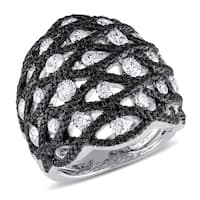 Miadora Signature Collection 18k White Gold 2 4/5ct TDW Black and White Diamond Ring