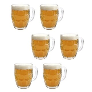 6 Pack Dimple Pub Stein Glass Beer Mug - 16 Oz. Tankard Beer Mugs