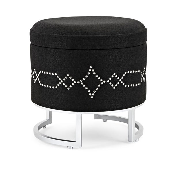 Elmy Black and Metallic Silver Ottoman