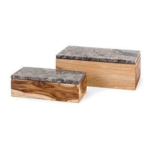 Napoleon Grey Marble and Natural Wood Boxes (Set of 2)