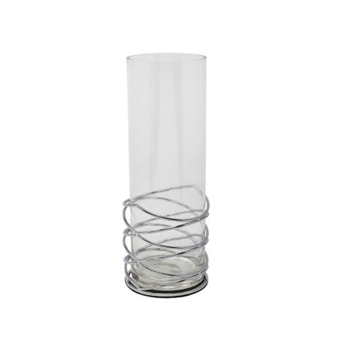 Sagebrook Home 13207-04 Metal/Glass Hurricane, Silver Metal/Glass, 4.25 x 4.25 x 11.5 Inches