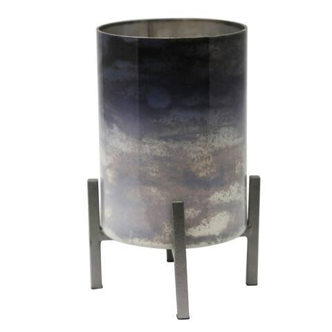 Sagebrook Home 13557-03 Glass Hurricane W/ Iron Stand, Multi MetalGlass, 6 x 6 x 8.5 Inches