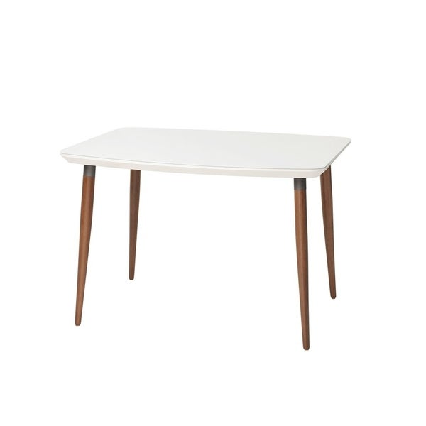 Charles 45.27 In. Modern Round Edge Rectangular Dining Table with Glass Top
