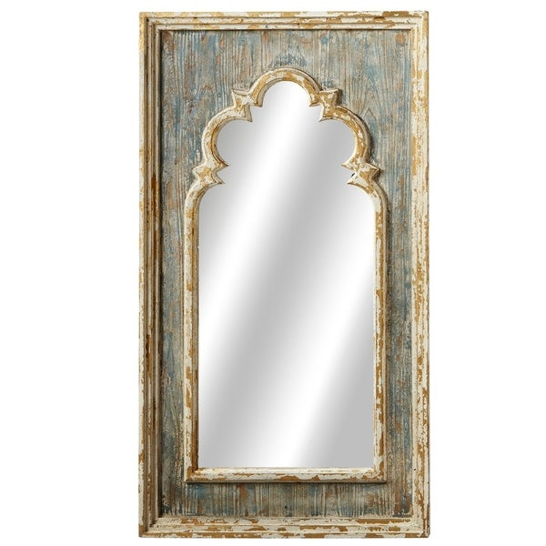 Shop Distressed Blue Arch Wall Mirror With Gold Brush