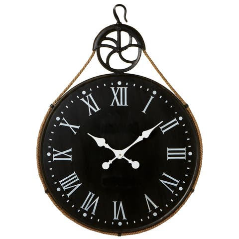 Distressed Black Wall Clock with Pulley.