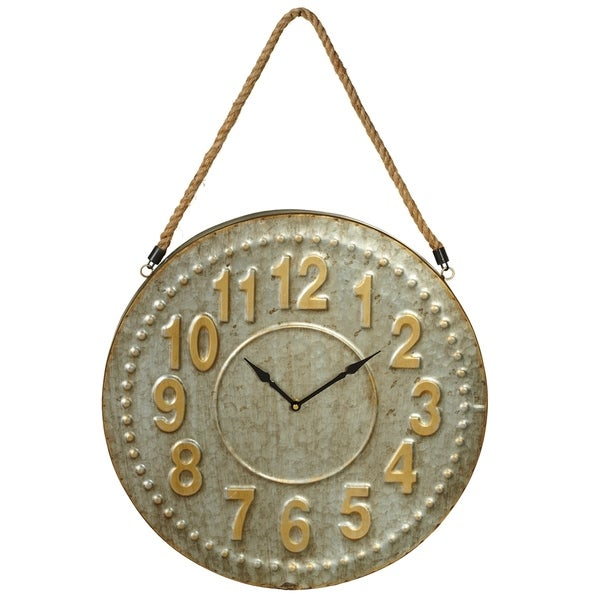 Galvanized Wall Clock with Gold Numbers.