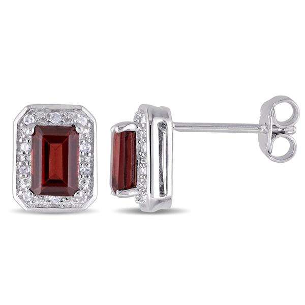 Miadora Sterling Silver Emerald Cut Garnet And 1 10ct Tdw Diamond Halo Stud Earrings