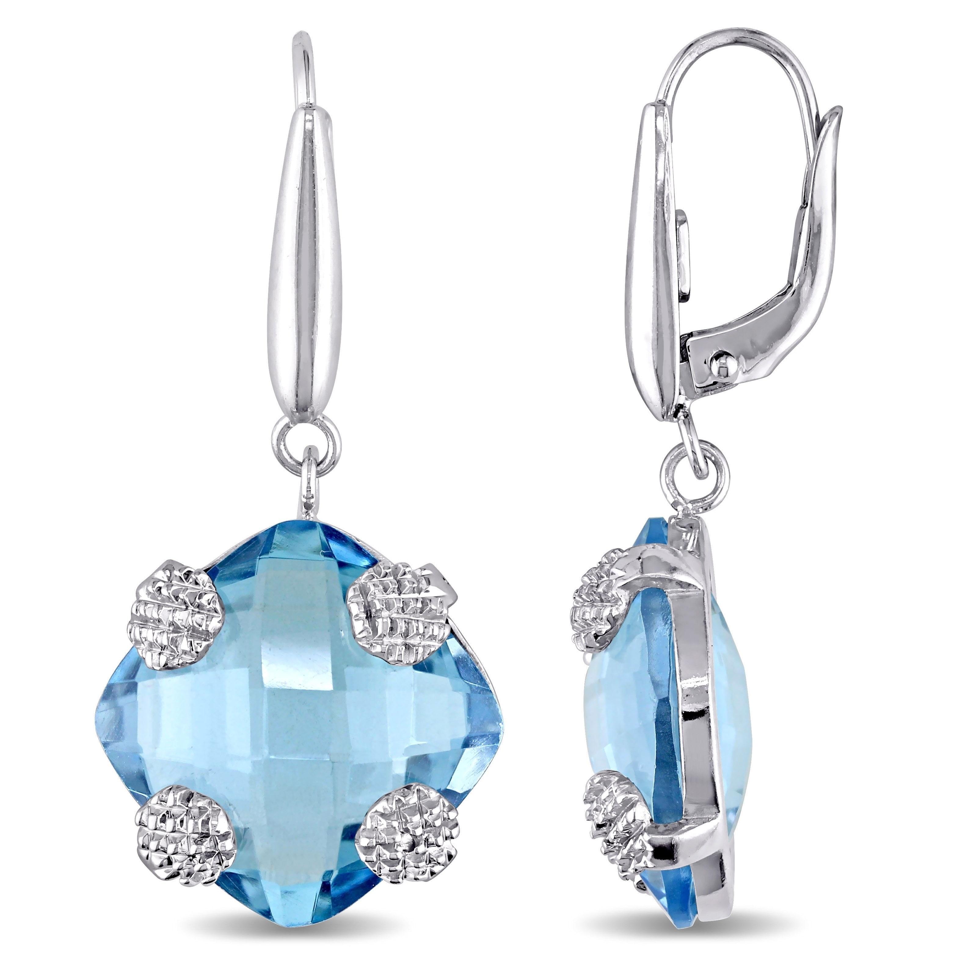 square cushion Blue Topaz Gemstone Earring
