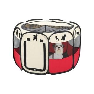 Portable Medium Dog Pen - Outdoor & Indoor Puppy Pen - Dog Silhouettes Print Dog Playpen