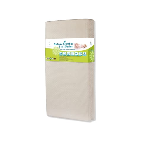 Baby Dream Time IV 2 in I Crib Mattress with Organic Cotton Layer and Seamless Edge