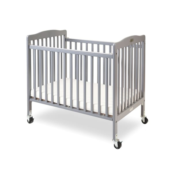 Merveilleux LA Baby The Little Wood Crib Mini/Portable Folding Wood Crib Gray