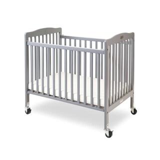 LA Baby The Little Wood Crib-Mini/Portable Folding Wood Crib-Gray