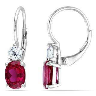 Miadora Sterling Silver Created Ruby and White Sapphire Earrings - Pink