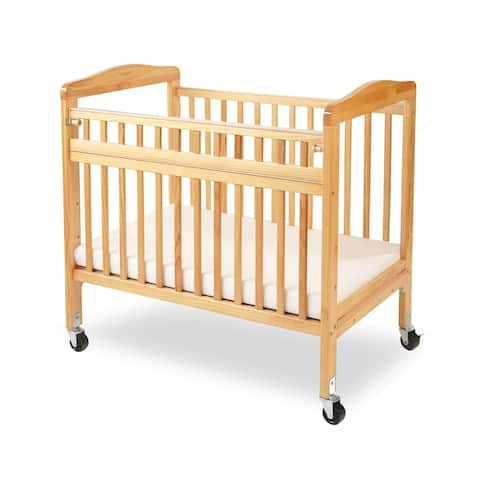 LA Baby Mini/Portable Non-folding Wooden Window Crib with Safety Gate