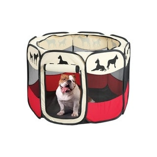 Portable Large Dog Pen - Outdoor & Indoor Puppy Pen - Dog Silhouettes Print Dog Playpen