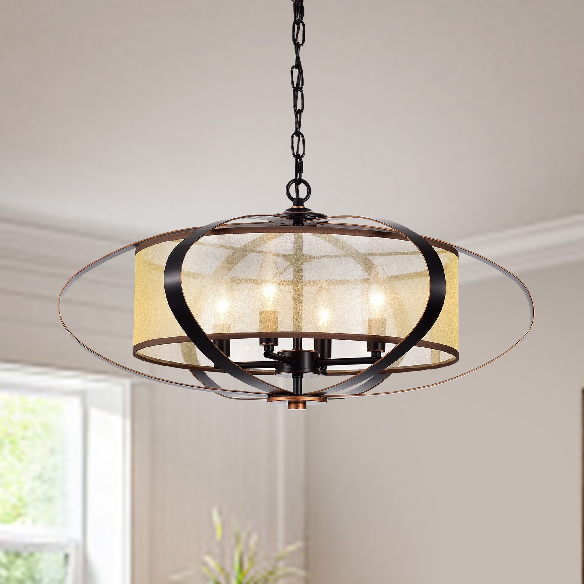 Image of: Shop Black Friday Deals On Marielle Oil Rubbed Bronze 4 Light Globe Pendant With Fabric Shade Overstock 21381937