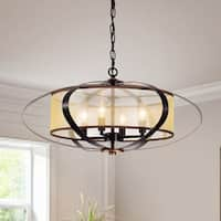 Marielle Oil Rubbed Bronze 4-Light Globe Pendant with Fabric Shade