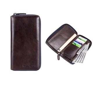 EnzoDesign Brown Leather Zip Around Wallet