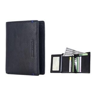 EnzoDesign Black / Blue Cowhide Leather Wallet