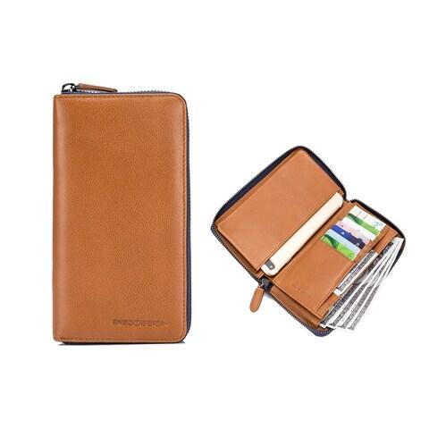 EnzoDesign Tan Leather Zip Around Wallet